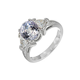 Platinum 3.26ct Sapphire & Diamond Ring Size 5.75