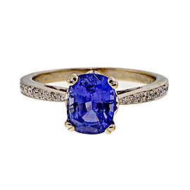 Vintage 18K White Gold 1.81ct Violet Blue Sapphire & Diamond Ring Size 8
