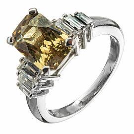 Platinum 3.37ct Sapphire & Diamond Ring Size 6