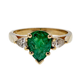 Vintage 1960 .75ct Pear Emerald 14k Yellow Gold Diamond Ring Size 5.25