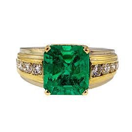 Vintage 18K Yellow & White Gold 4.02ct Asscher Cut Emerald & 0.80ct Diamond Ring Size 7.75