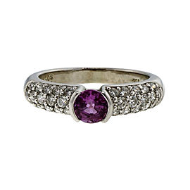 14K White Gold 0.56ct Pink Sapphire & 0.50ct Diamond Pave Ring Size 5.75