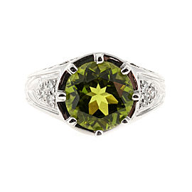 Platinum 4.25ct Peridot & Diamond Filigree Ring Size 7