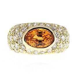 18K Yellow Gold with 2.43ct Garnet & 2.00ct Diamond Ring Size 6.5