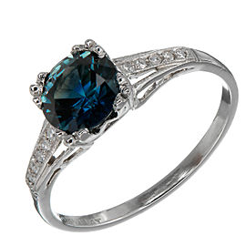 Vintage Art Deco Rare Platinum with 1.54ct Blue Sapphire and Diamond Engagement Ring Size 8.25