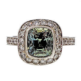 Rare Vintage Platinum with Greenish Ice Blue 3.20ct Sapphire and Diamond Halo Engagement Ring Size 5.75