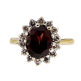 18K Yellow Gold with 2.10ct Garnet & 0.28ct Diamond Ring Size 5.75