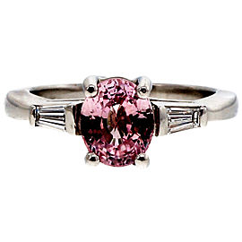 Vintage Platinum and 1.65ct Pink Sapphire and Diamond Engagement Ring Size 5.5
