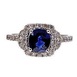 Estate 18K White Gold 1.41ct Cushion Gem Sapphire and Diamond Halo Engagement Ring Size 6.75