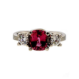 Platinum with Padparadscha 1.61ct Sapphire and Diamond Engagement Ring Size 6