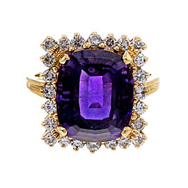 Vintage Estate 5.00ct Cushion Amethyst Diamond 14k Yellow Gold Ring Size 7.75
