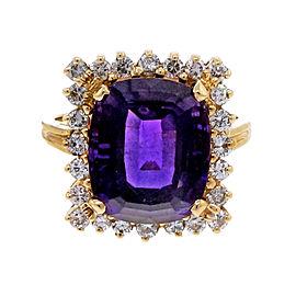 Vintage Estate 5.00ct Cushion Amethyst Diamond 14k Yellow Gold Ring Size 7.75