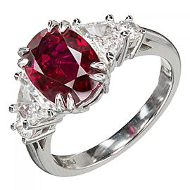 Estate Platinum Crimson Red 2.96ct Oval Ruby Trapezoid and Round Diamond Ring Size 7