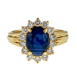 Vintage 18K Yellow Gold 2.34ctw Natural Dark Blue Star Sapphire and Diamond Ring Size 5
