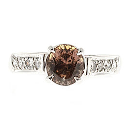 Vintage Rare Platinum Color Change Brown Yellow 1.60ct Sapphire and Diamond Engagement Ring Size 5