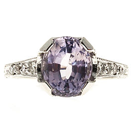 Vintage Art Deco Platinum with 2.86ct Pink Purple Sapphire and Diamond Engagement Ring Size 5.75