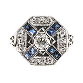 Art Deco Vintage Platinum and 0.37ct Diamond and Sapphire Ring Size 6
