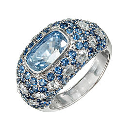 Vintage 18K White Gold 3.22ctw Cushion Cut Sapphire and Diamond Dome Ring Size 6.25