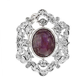 18K White Gold 3.00ct Purple Red Star Ruby & 0.75ct Diamond Ring Size 5.75