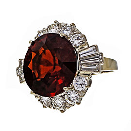 18K White Gold 20.28ct Garnet & 5.06 Diamond Cocktail Ring Size 7