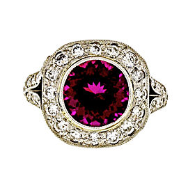 Rare Platinum with 2.20ct Pink Red Tourmaline and Diamonds Split Shank Halo Ring Size 6.25