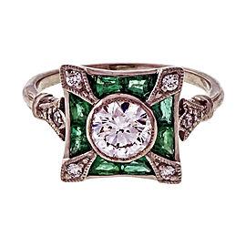 Platinum 0.71ct Diamond & Emerald Ring Size 7