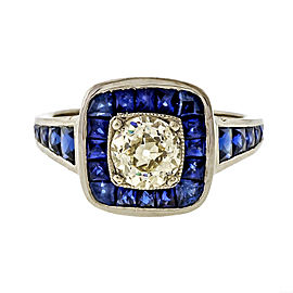 Vintage Art Deco Platinum with 0.77ct Diamond and Blue Sapphire Ring Size 6.75