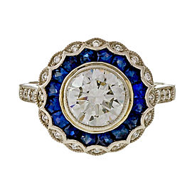 Vintage Platinum with 1.21ct Diamond and Sapphire Engagement Ring Size 7