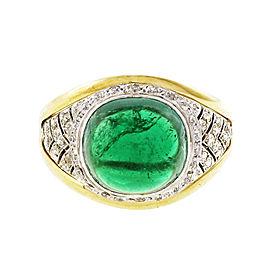Platinum & 18K Yellow Gold 5.15ct Emerald & Diamond Ring Size 8.25