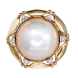 Vintage 14K Yellow Gold Mobe Pearl & Diamond Ring Size 9