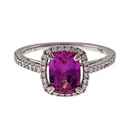 Vintage Platinum 1.62ct Pink Sapphire & Diamond Halo Engagement Ring Size 6.5