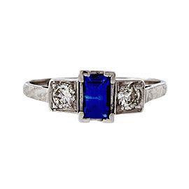 Platinum Diamond & 0.27ct Sapphire Ring Size 6.75