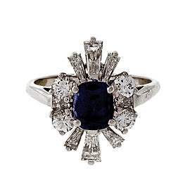 Vintage 14K White Gold 1.25ct Royal Blue Sapphire & Diamond Ring Size 7.25