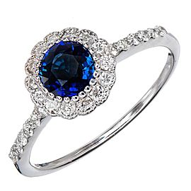 14K White Gold 0.90ct Royal Blue Sapphire & 0.35ct Diamond Ring Size 7.5