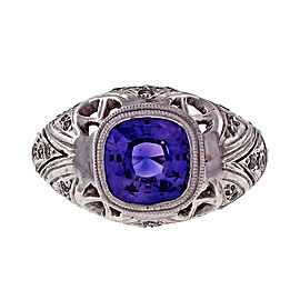 Vintage Platinum Custom Cut 2.40ct Purple Sapphire and Diamond Engagement Ring Size 6.25