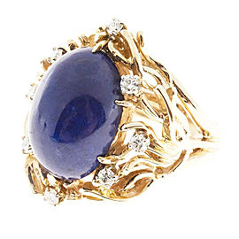 Vintage 1950 14k Yellow Gold Lapis Diamond Ring Size 7.75