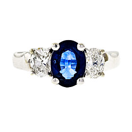 14K White Gold 1.45ct Blue Sapphire and Diamond ring Size 6.5