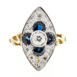 Vintage 18K Yellow Gold and Platinum with 0.42ct Diamond and 1.00ct Sapphire Ring Size 6.25