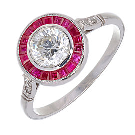 Vintage Platinum 0.81ct Diamond and Ruby Halo Ring Size 6.5