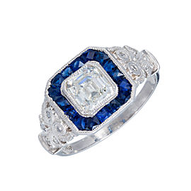Vintage Art Deco Platinum with 1.06ct Diamond and Sapphire Calibre Halo Ring Size 6.75