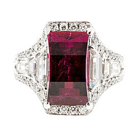 Vintage Art Deco Platinum with 3.89ct Rubellite Red Tourmaline and Diamond Solid Ring Size 6.25