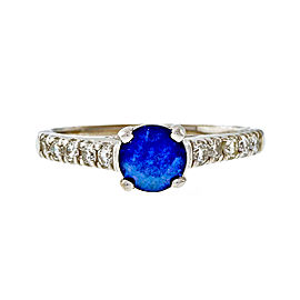 14k White Gold Diamond Blue Sapphire Lucida Engagement Ring Size 8.25