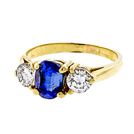 18k Yellow Gold 1.35ct Bright Blue Sapphire Diamonds Ring Size 5.25