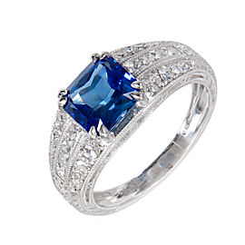Vintage Platinum with 2.10ct Blue Sapphire and Diamond Engagement Ring Size 6.25