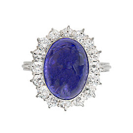 14K White Gold 9.75ct Tanzanite & 1.20ct Diamond Ring Size 8.75