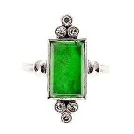 Vintage Palladium Natural Omphacite Jadeite Jade & 0.18ct Diamond Ring Size 5