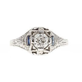 Vintage Art Deco 18K White Gold 0.40ct Diamond & Sapphires Filigree Ring Size 5