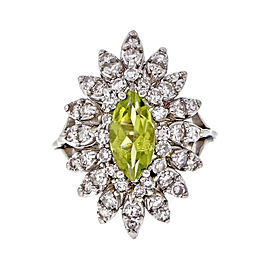 Vintage 14K White Gold with 1.00ct Marquise Peridot & Diamond Cocktail Ring Size 4.75