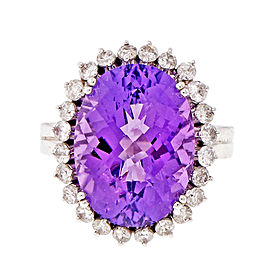 14K White Gold 7.76ct Amethyst 0.70ctw. Diamond Ring Size 6.75