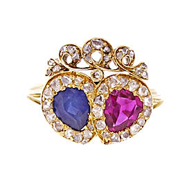 18K Yellow Gold with 0.70ct Ruby, 0.75ct Sapphire & 0.60ct Diamond Ring Size 6